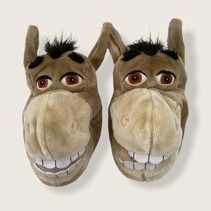 🍋 SHREK Donkey Plush Slippers Funny Shoes Sz 5-6